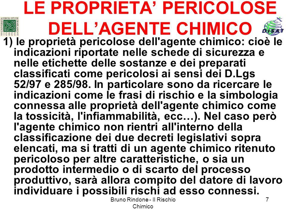 LE PROPRIETA' PERICOLOSE DELL'AGENTE CHIMICO