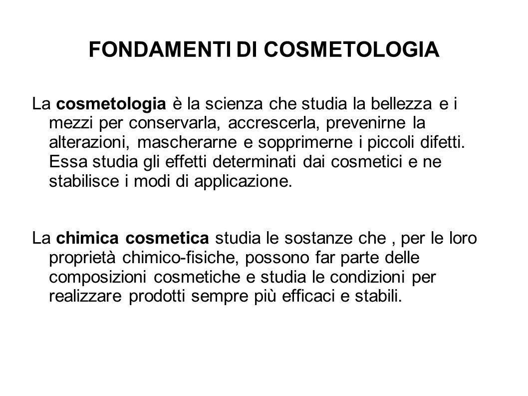 FONDAMENTI DI COSMETOLOGIA