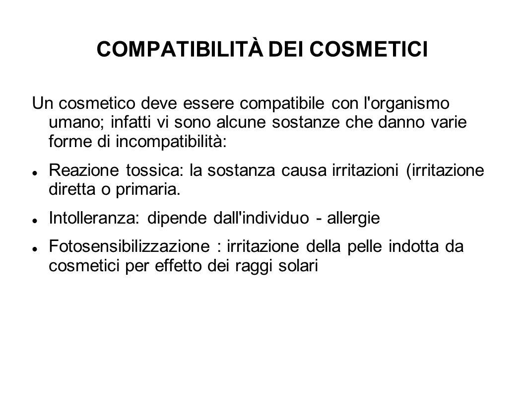 COMPATIBILITÀ DEI COSMETICI