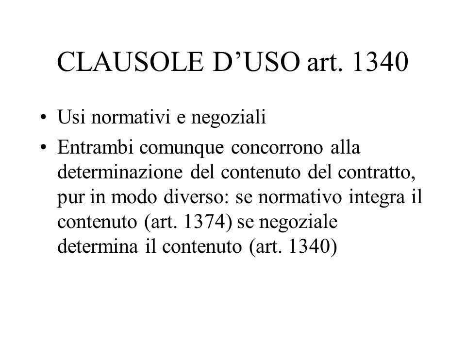 CLAUSOLE D'USO art. 1340 Usi normativi e negoziali