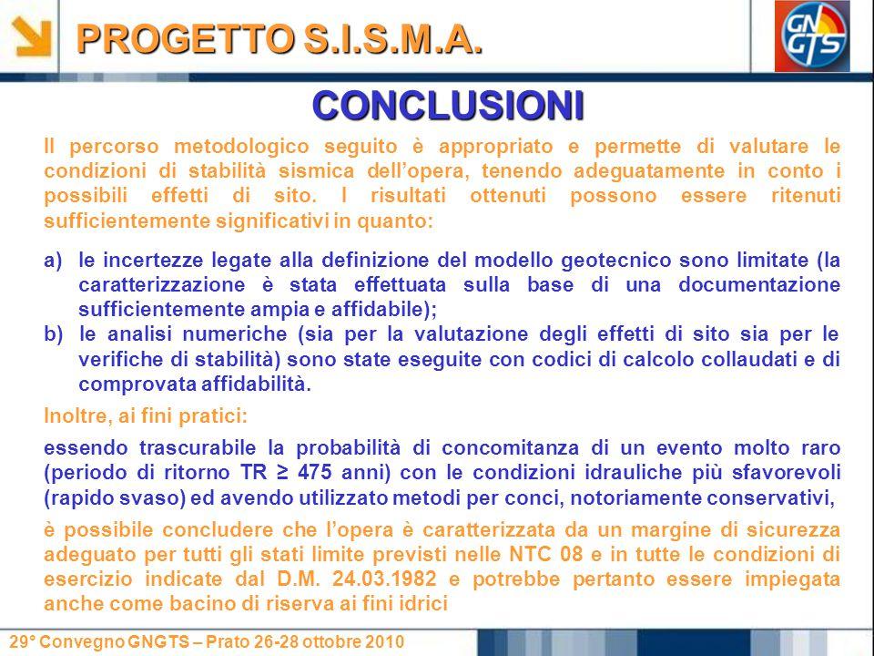 PROGETTO S.I.S.M.A. CONCLUSIONI