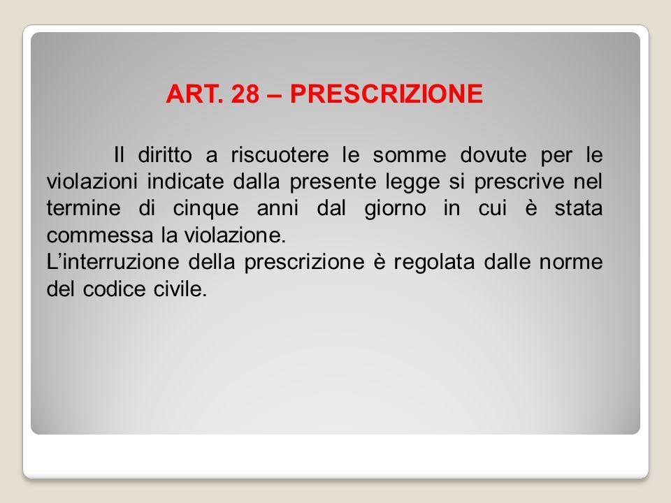 ART. 28 – PRESCRIZIONE