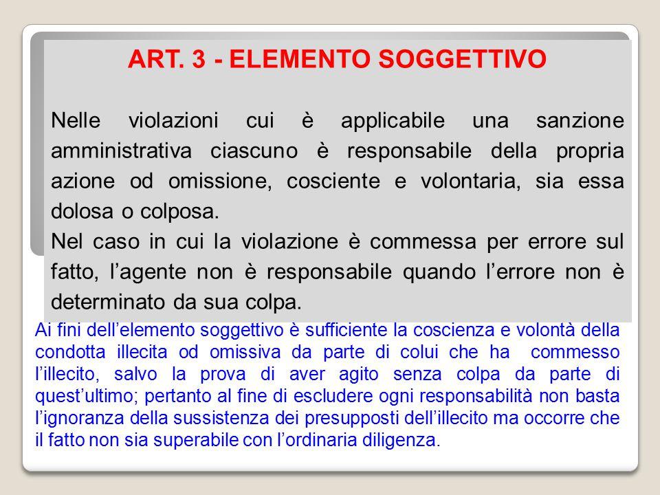ART. 3 - ELEMENTO SOGGETTIVO