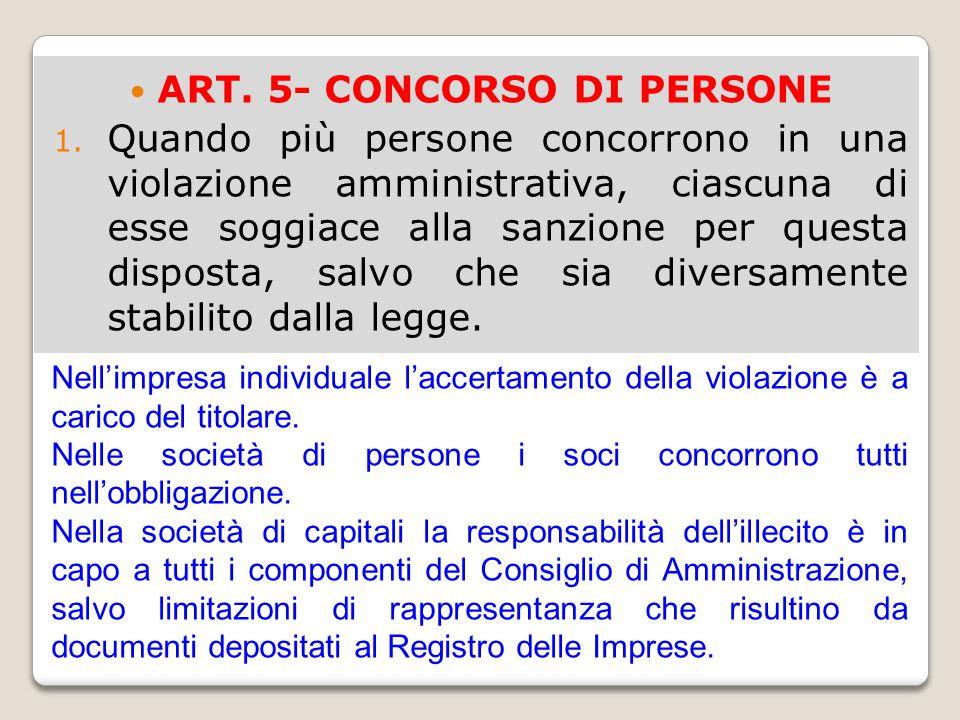 ART. 5- CONCORSO DI PERSONE