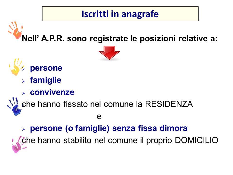 Iscritti in anagrafe Nell' A.P.R. sono registrate le posizioni relative a: persone. famiglie. convivenze.