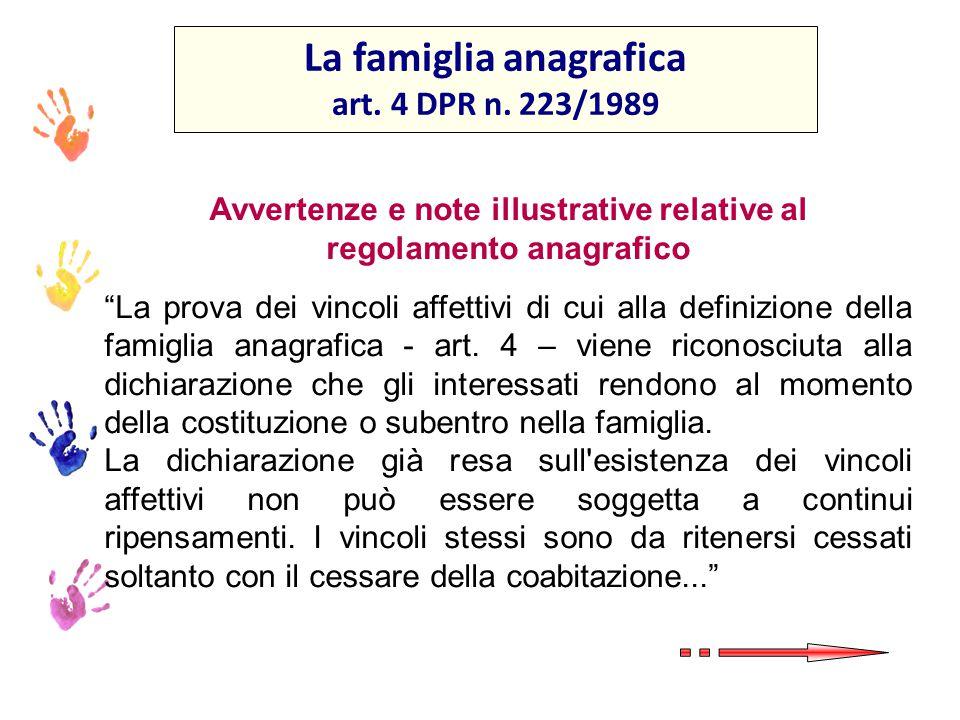La famiglia anagrafica