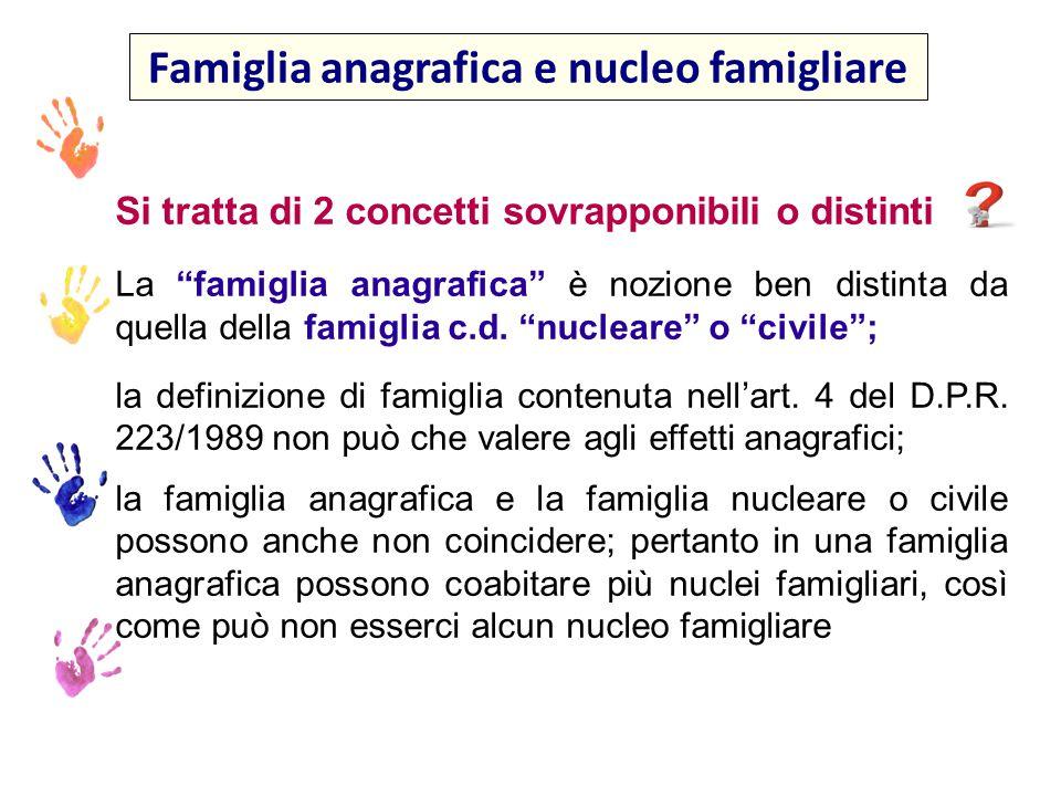 Famiglia anagrafica e nucleo famigliare