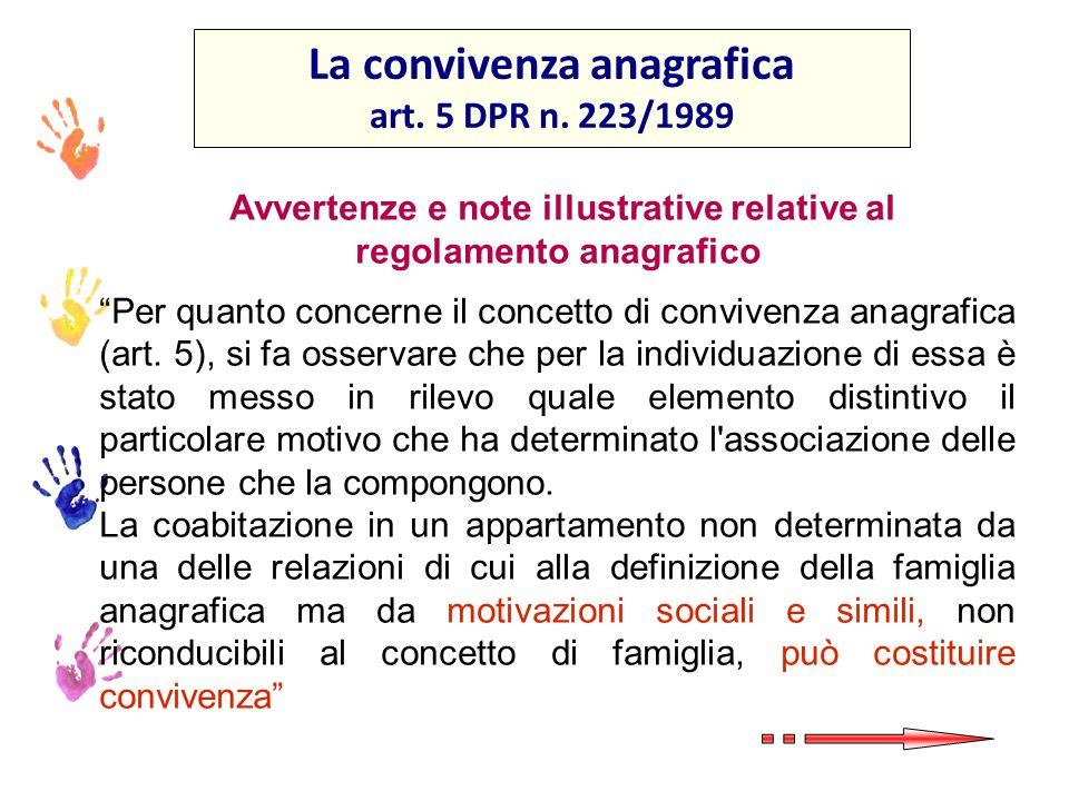 La convivenza anagrafica regolamento anagrafico
