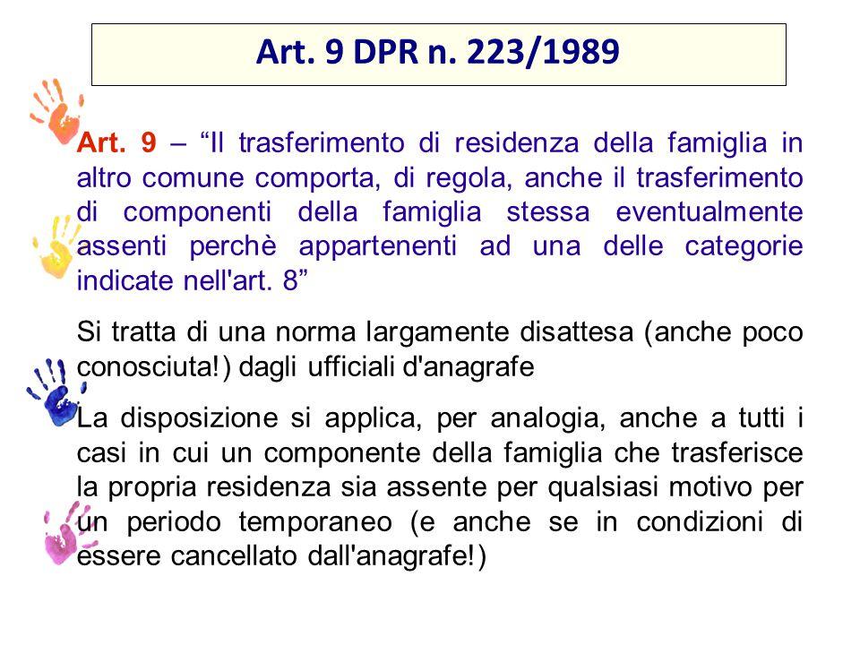 Art. 9 DPR n. 223/1989