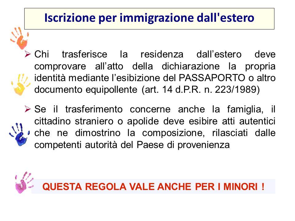 Iscrizione per immigrazione dall estero