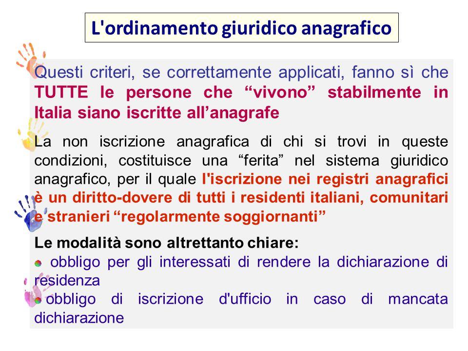 L ordinamento giuridico anagrafico