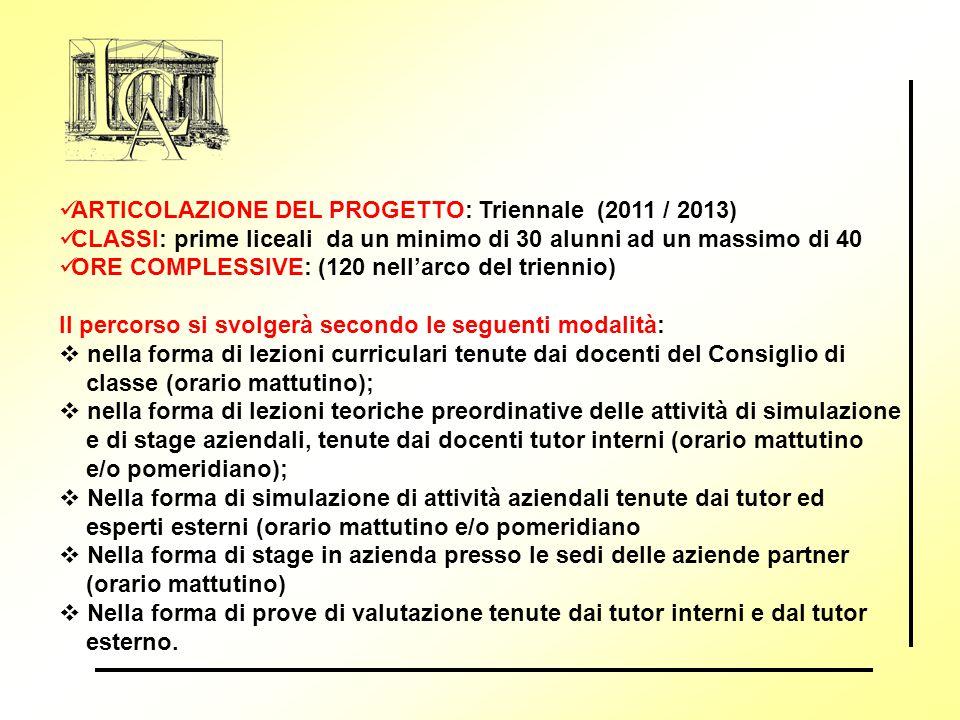 ARTICOLAZIONE DEL PROGETTO: Triennale (2011 / 2013)