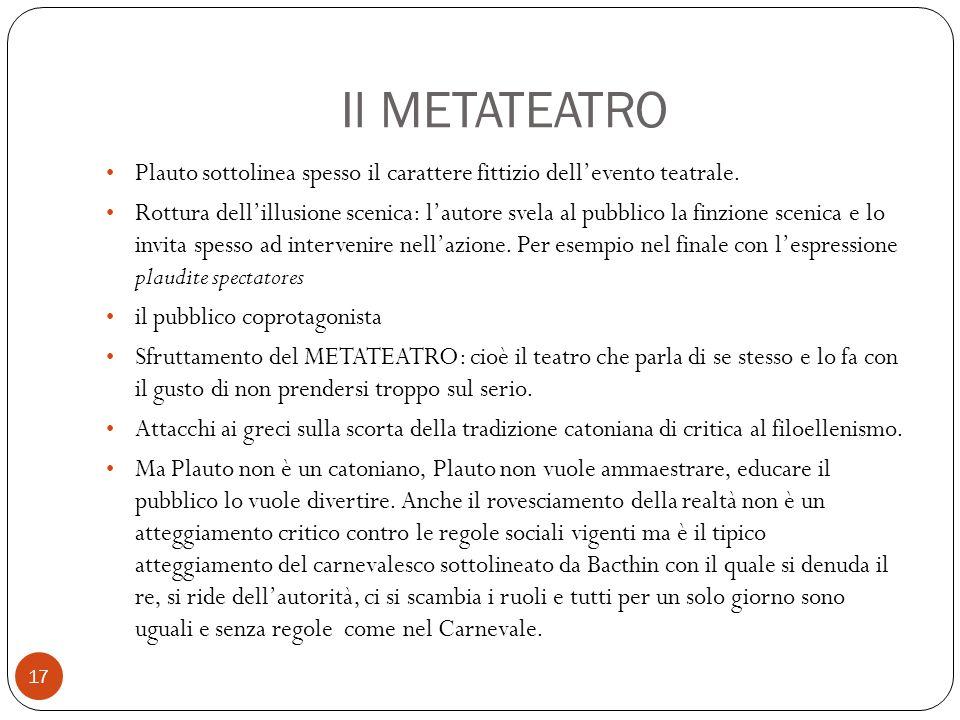 Il METATEATRO Plauto sottolinea spesso il carattere fittizio dell'evento teatrale.