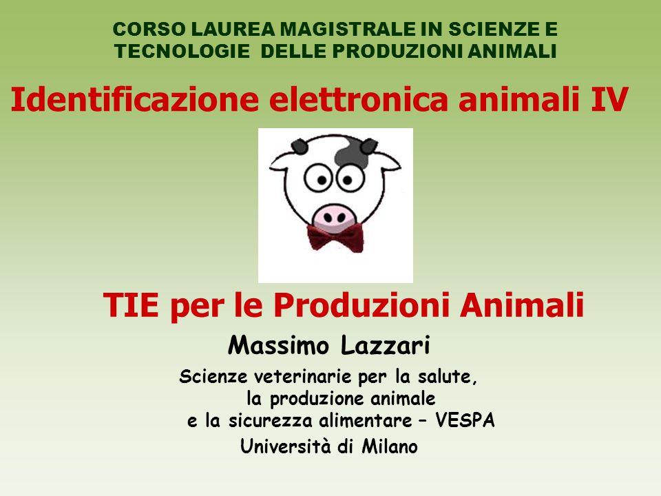 Identificazione elettronica animali IV TIE per le Produzioni Animali
