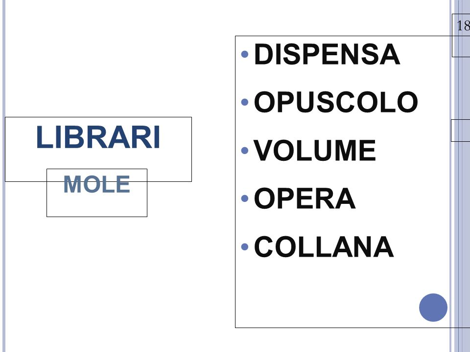 13131313 18/03/15 DISPENSA OPUSCOLO VOLUME OPERA COLLANA LIBRARI MOLE