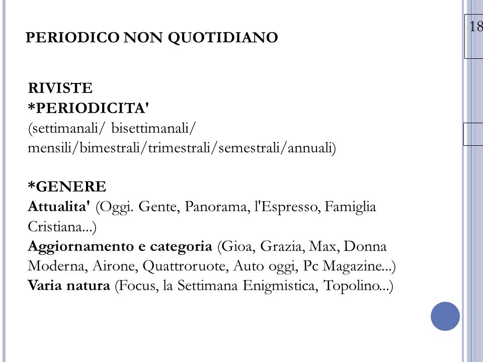 PERIODICO NON QUOTIDIANO
