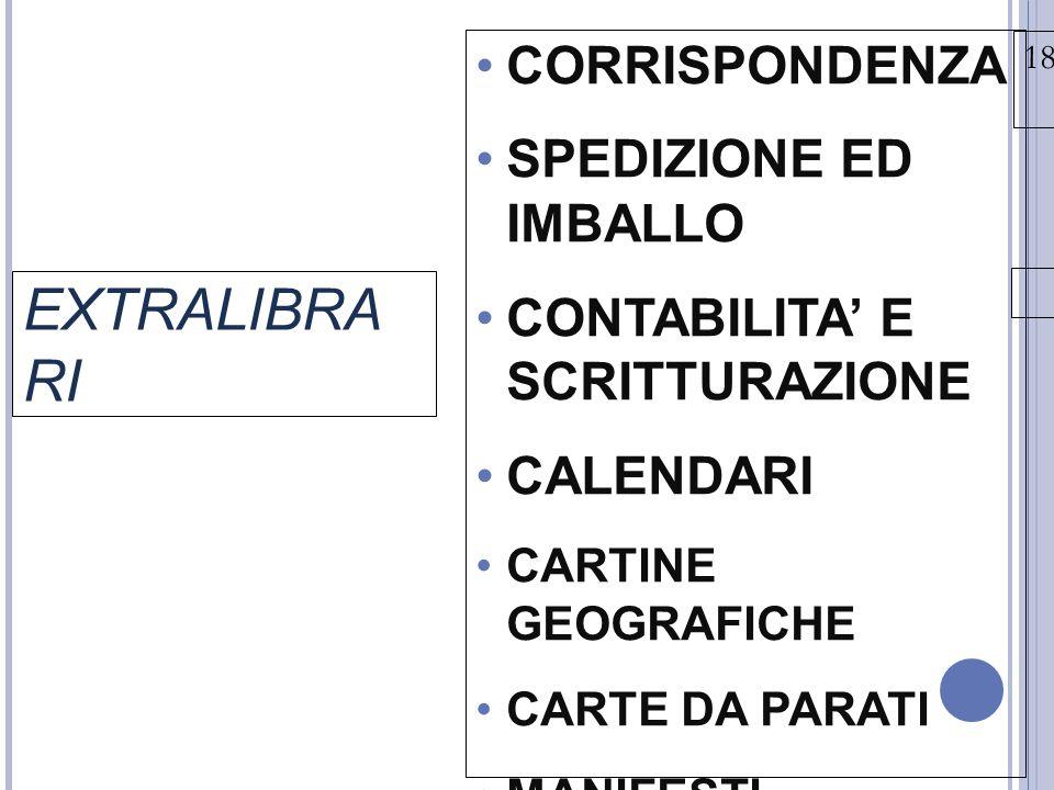 EXTRALIBRARI CORRISPONDENZA SPEDIZIONE ED IMBALLO