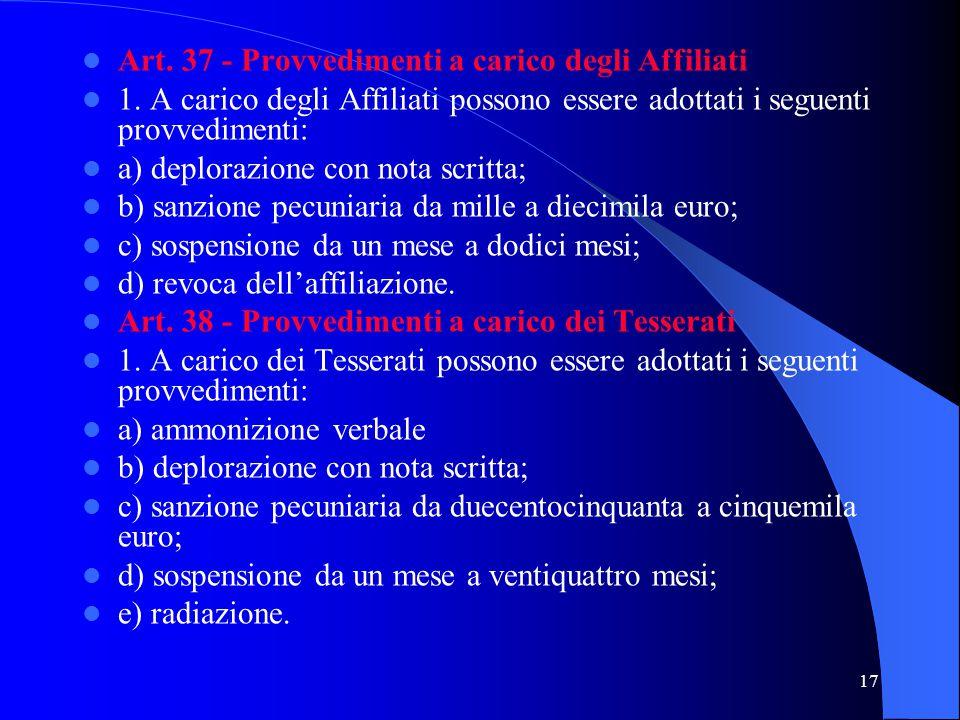 Art. 37 - Provvedimenti a carico degli Affiliati