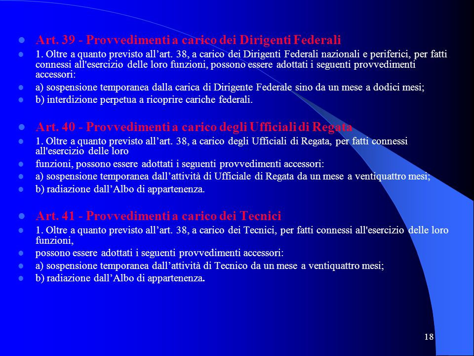 Art. 39 - Provvedimenti a carico dei Dirigenti Federali