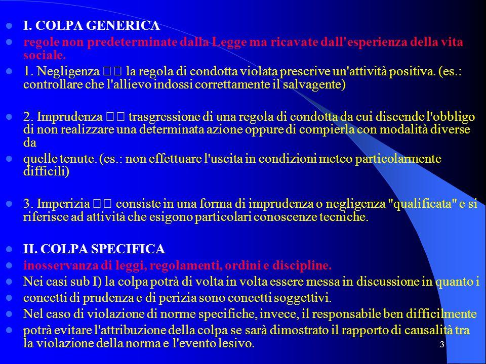 I. COLPA GENERICA regole non predeterminate dalla Legge ma ricavate dall esperienza della vita sociale.