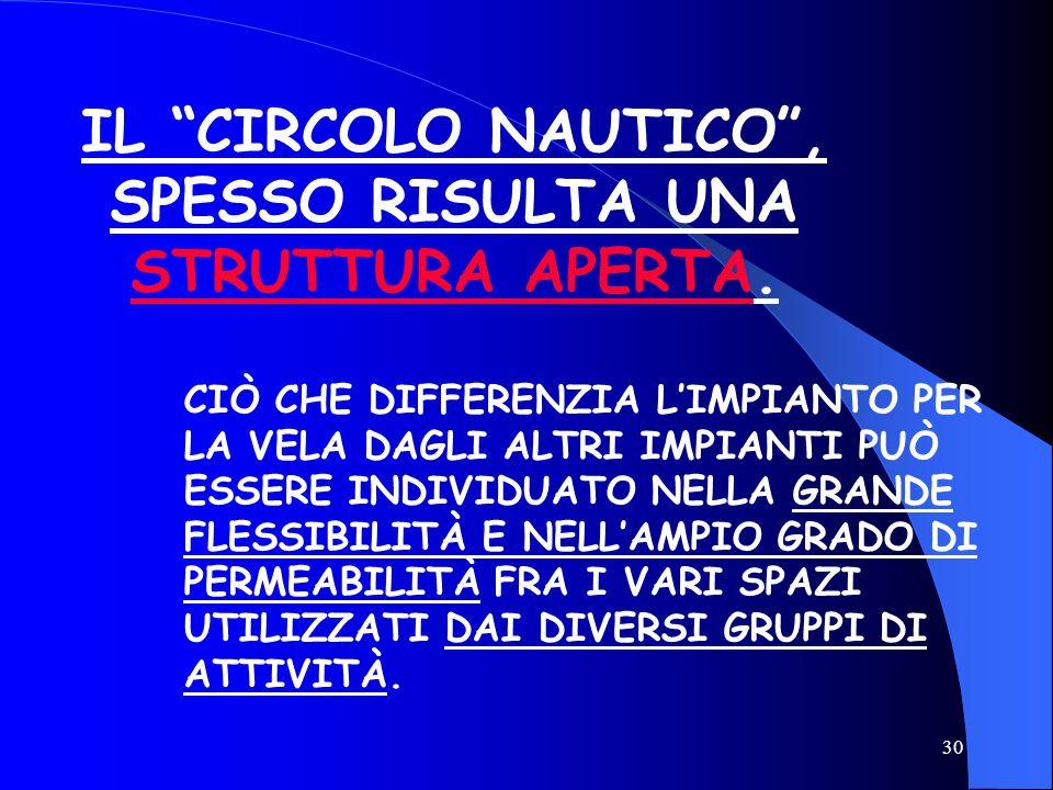 IL CIRCOLO NAUTICO , SPESSO RISULTA UNA STRUTTURA APERTA.