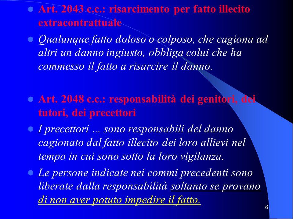 Art. 2043 c.c.: risarcimento per fatto illecito extracontrattuale