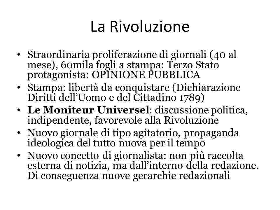 La Rivoluzione Straordinaria proliferazione di giornali (40 al mese), 60mila fogli a stampa: Terzo Stato protagonista: OPINIONE PUBBLICA.