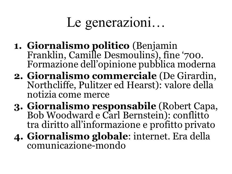 Le generazioni… Giornalismo politico (Benjamin Franklin, Camille Desmoulins), fine '700. Formazione dell'opinione pubblica moderna.