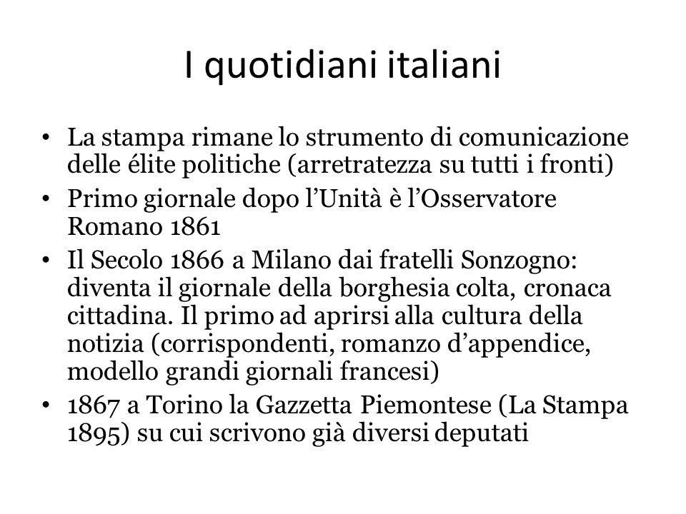 I quotidiani italiani La stampa rimane lo strumento di comunicazione delle élite politiche (arretratezza su tutti i fronti)