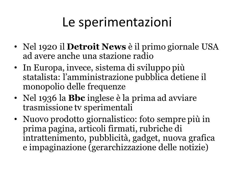 Le sperimentazioni Nel 1920 il Detroit News è il primo giornale USA ad avere anche una stazione radio.