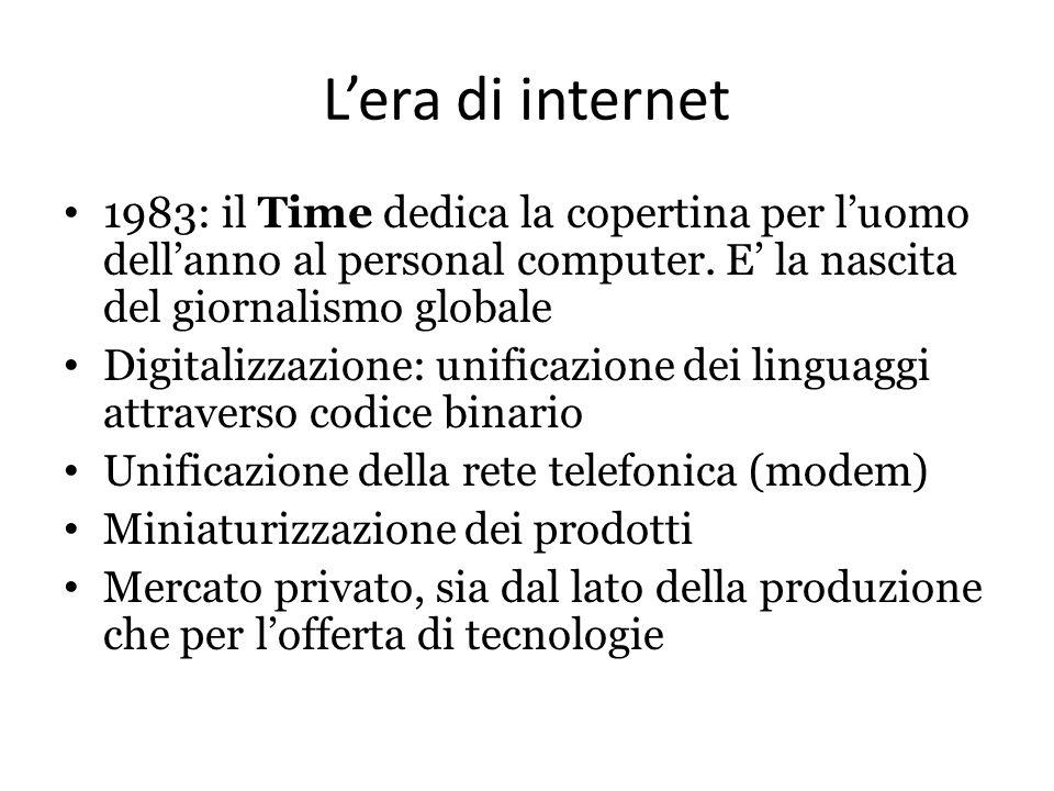 L'era di internet 1983: il Time dedica la copertina per l'uomo dell'anno al personal computer. E' la nascita del giornalismo globale.
