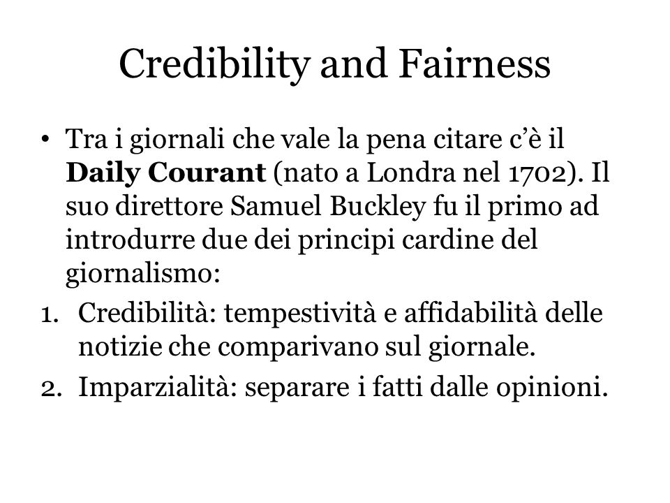 Credibility and Fairness