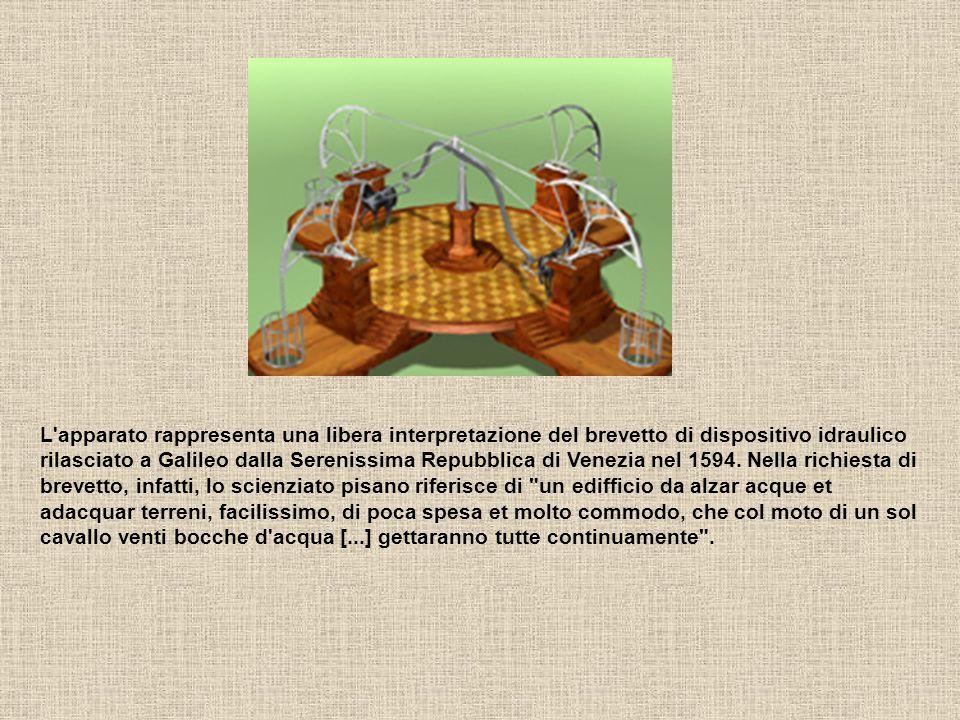 L apparato rappresenta una libera interpretazione del brevetto di dispositivo idraulico rilasciato a Galileo dalla Serenissima Repubblica di Venezia nel 1594.