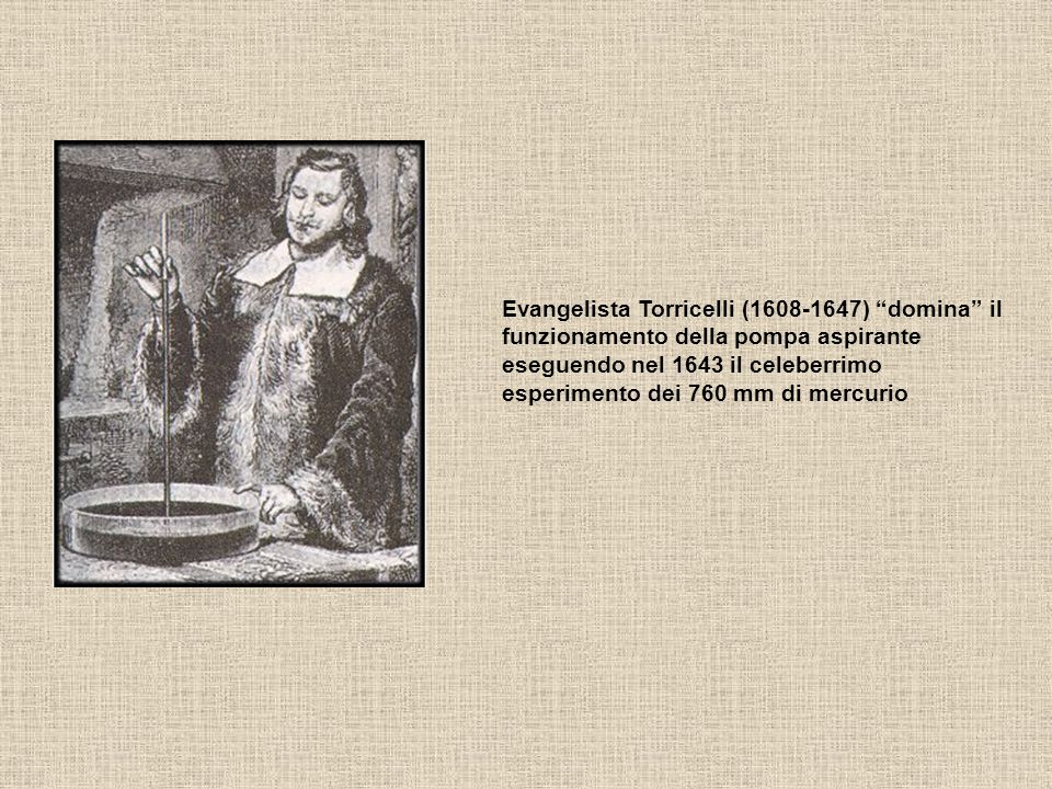 Evangelista Torricelli (1608-1647) domina il funzionamento della pompa aspirante eseguendo nel 1643 il celeberrimo esperimento dei 760 mm di mercurio