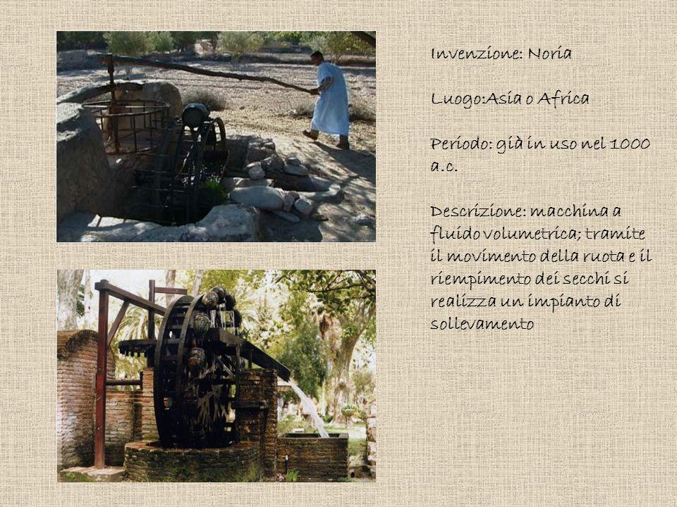 Invenzione: Noria Luogo:Asia o Africa. Periodo: già in uso nel 1000 a.c.
