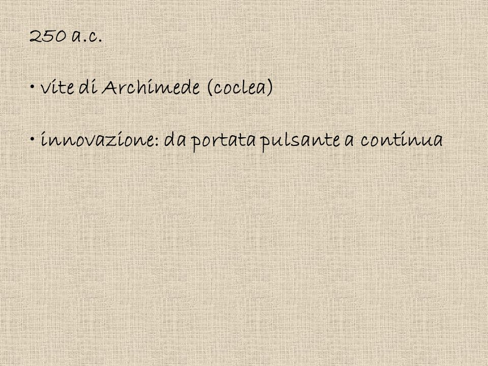 250 a.c. vite di Archimede (coclea) innovazione: da portata pulsante a continua