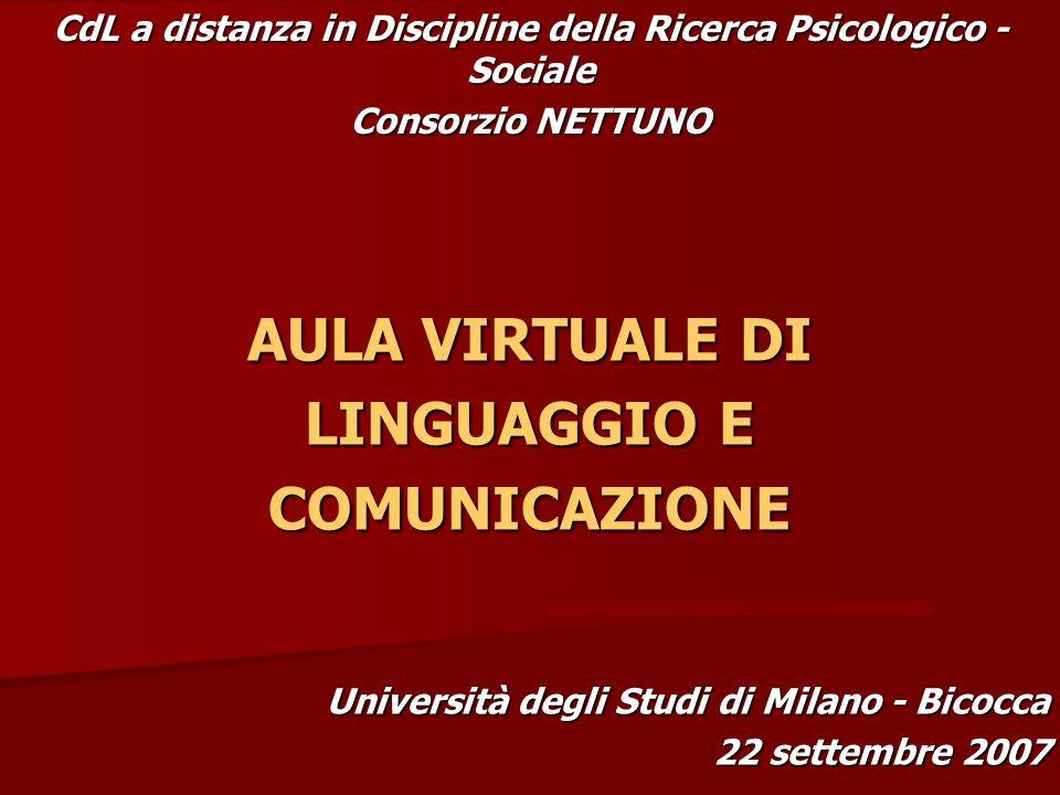 AULA VIRTUALE DI LINGUAGGIO E COMUNICAZIONE