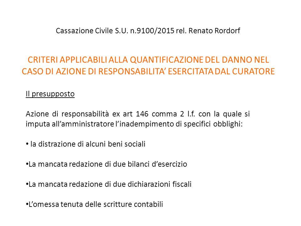 Cassazione Civile S.U. n.9100/2015 rel. Renato Rordorf