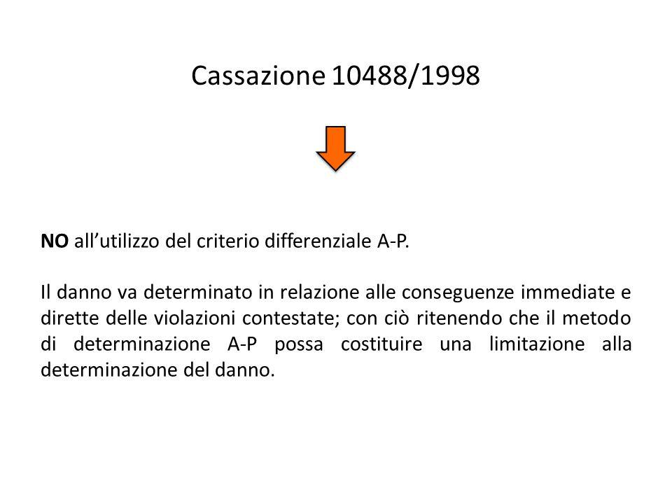 Cassazione 10488/1998 NO all'utilizzo del criterio differenziale A-P.