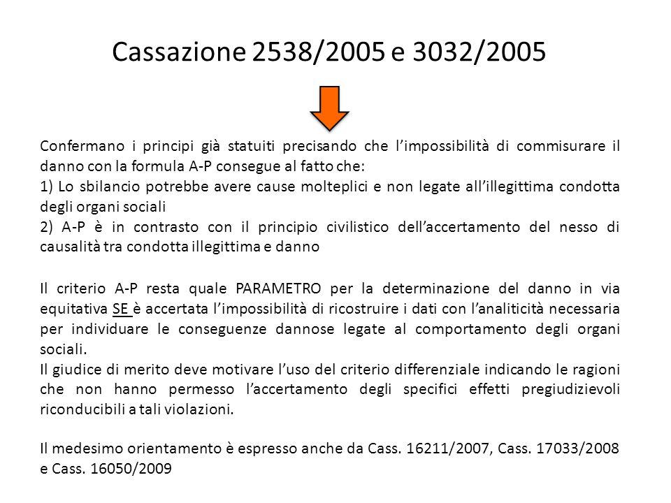 Cassazione 2538/2005 e 3032/2005