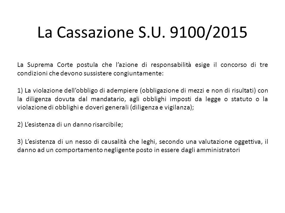 La Cassazione S.U. 9100/2015