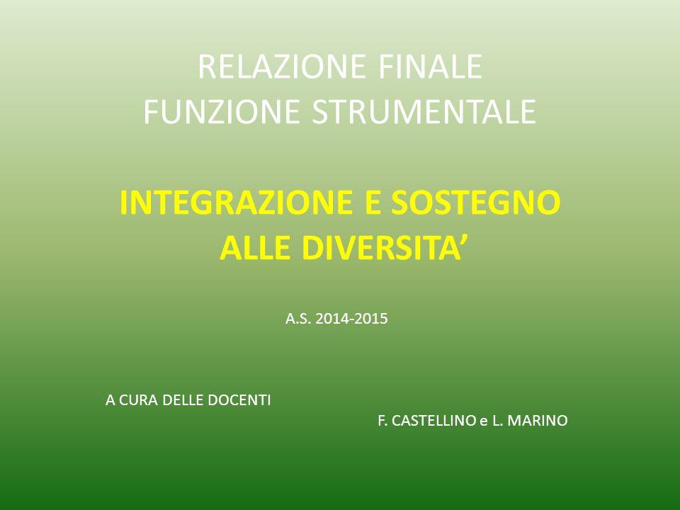 A.S. 2014-2015 A CURA DELLE DOCENTI F. CASTELLINO e L. MARINO