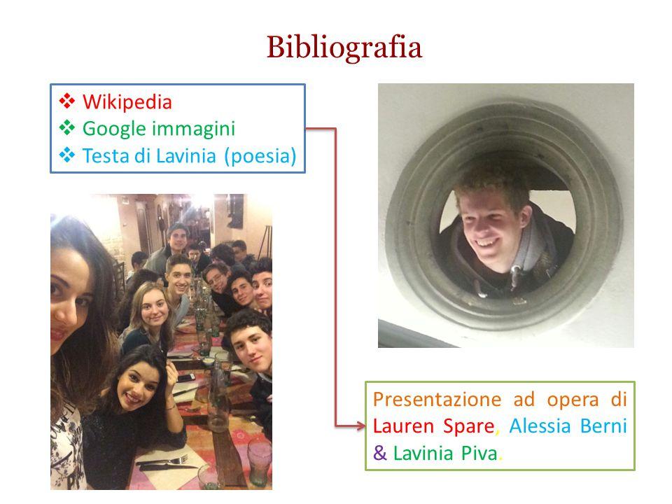 Bibliografia Wikipedia Google immagini Testa di Lavinia (poesia)
