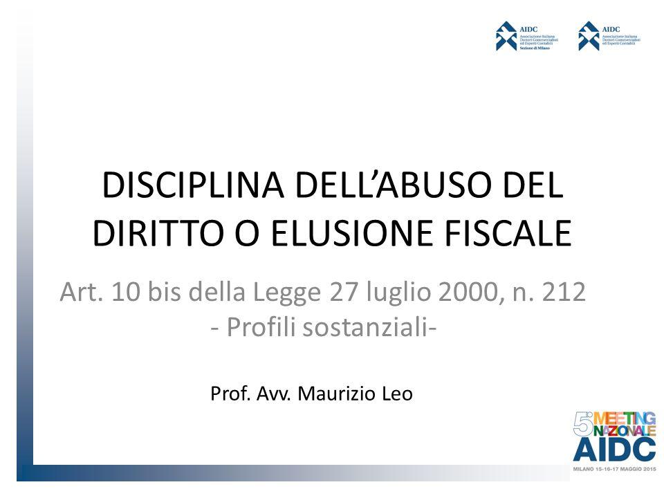 DISCIPLINA DELL'ABUSO DEL DIRITTO O ELUSIONE FISCALE