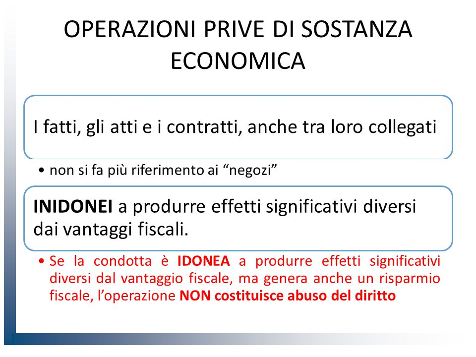 OPERAZIONI PRIVE DI SOSTANZA ECONOMICA