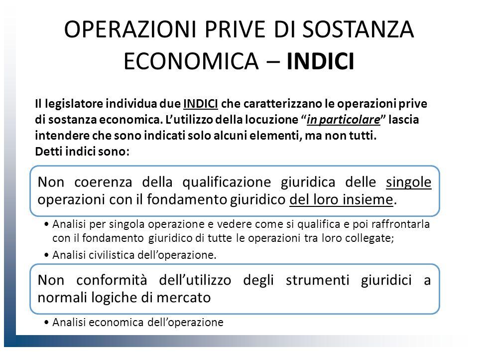 OPERAZIONI PRIVE DI SOSTANZA ECONOMICA – INDICI