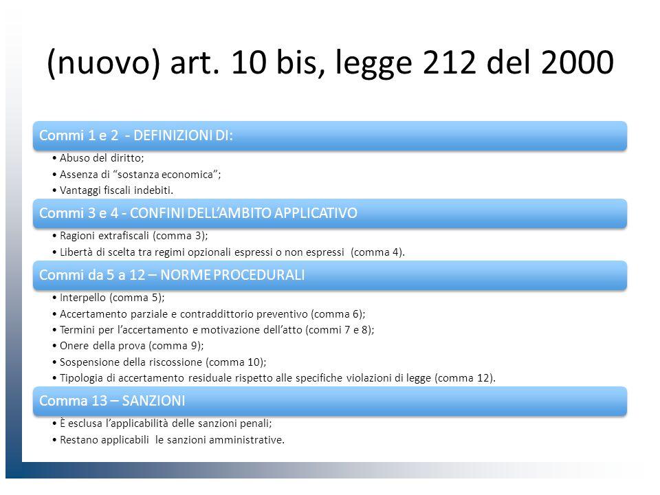 (nuovo) art. 10 bis, legge 212 del 2000