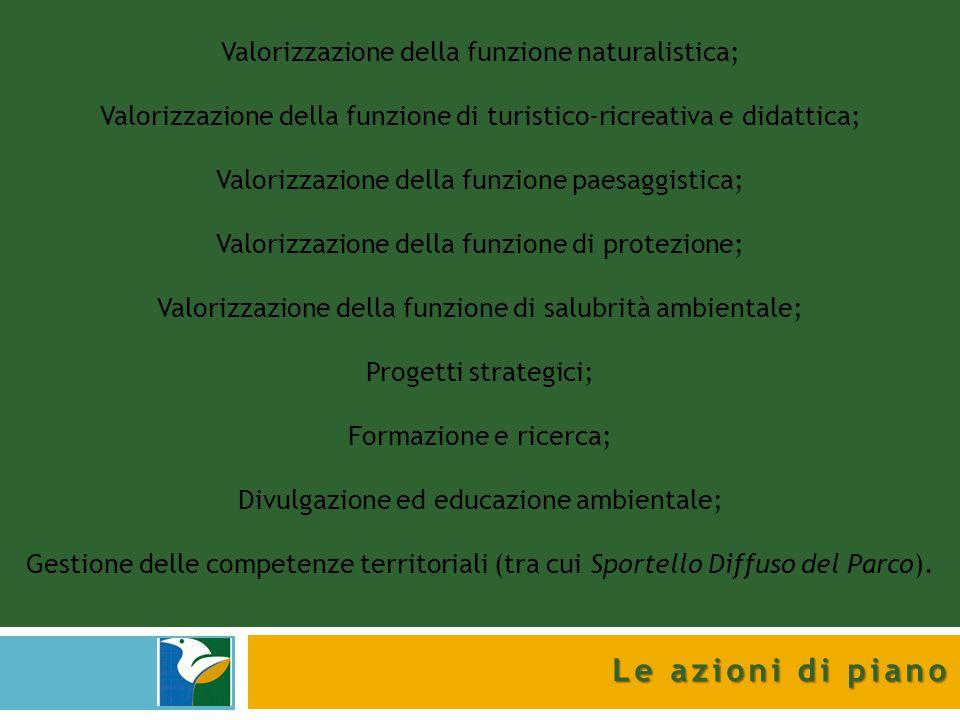 Le azioni di piano Valorizzazione della funzione naturalistica;
