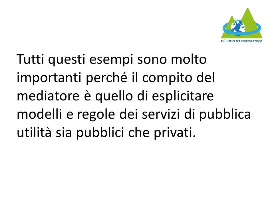 Tutti questi esempi sono molto importanti perché il compito del mediatore è quello di esplicitare modelli e regole dei servizi di pubblica utilità sia pubblici che privati.