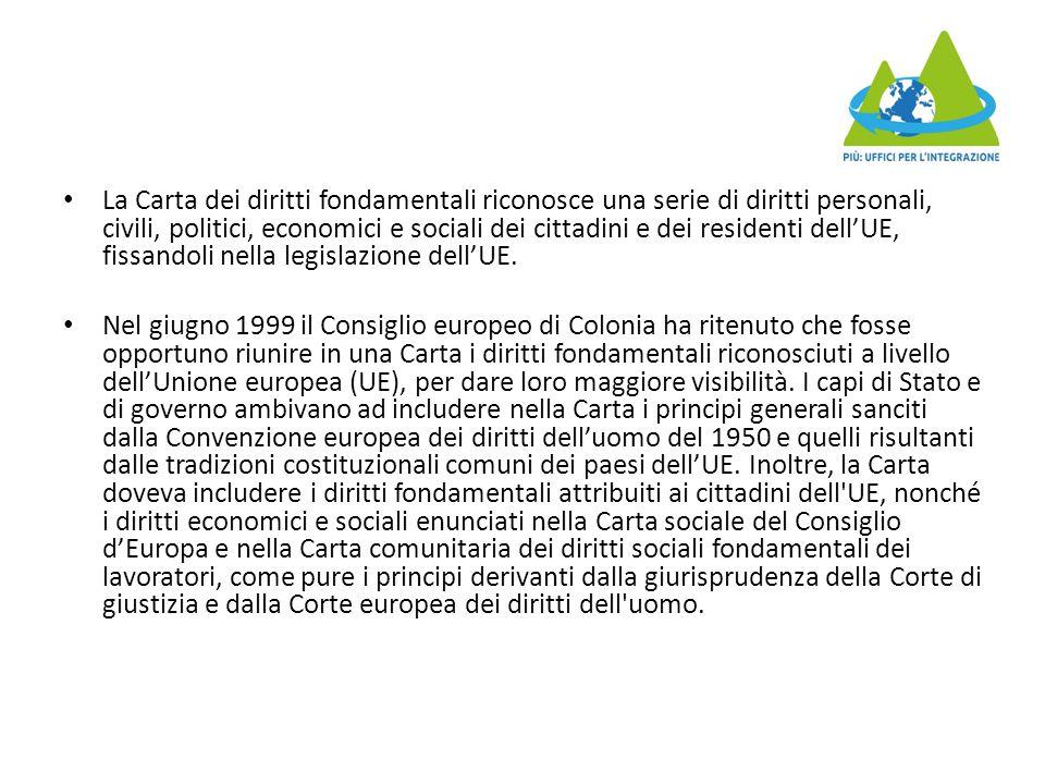 La Carta dei diritti fondamentali riconosce una serie di diritti personali, civili, politici, economici e sociali dei cittadini e dei residenti dell'UE, fissandoli nella legislazione dell'UE.
